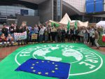 Young climate activists camp out in front of the European Parliament